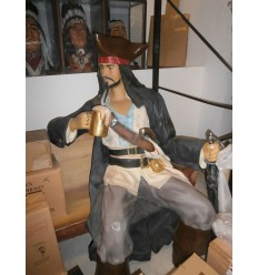 SEATED PIRATE WITH A BEER