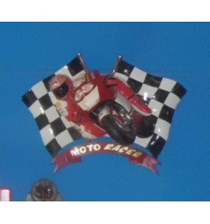 MOTORACER WITH CHECKERED FLAGS