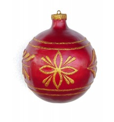 CHRISTMAS D+COR BALL RED W/ GOLD T