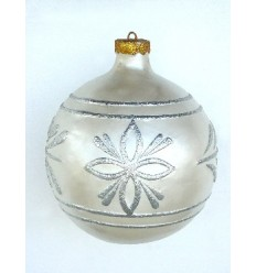 CHRISTMAS D+COR BALL WHITE W/ SILVE