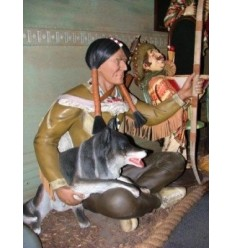 INDIAN WARRIOR SITTING WITH WOLF
