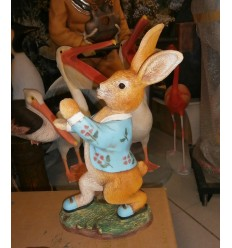 RABBIT MALE WALKING WITH RATTAN TRAY