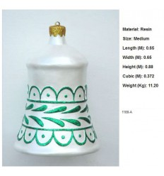 CHRISTMAS D+COR BELL WHITE W/ GREEN